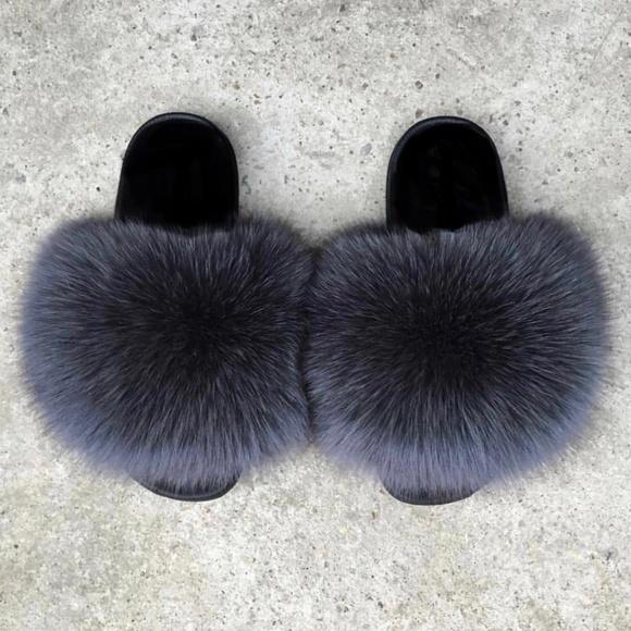 1eb7267a3f907 NEW! Fox Fur Slides Real Fur Slippers- Dark Grey NWT
